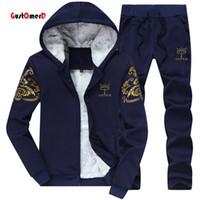 Wholesale Men S Velvet Suit - Wholesale-GustOmerD 2016 Fashion Brand Tracksuit Men College Wind Winter Plus Velvet Warm Hooded Sweatshirt Suit Mens Spor-ts Suits M-4Xl