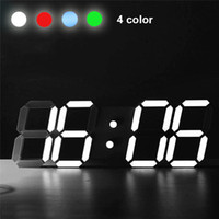 Wholesale Hours Wall - 3D LED Digital Alarm Clocks, Modern Wall Desk Table Clock 24 12 Hour Display, 3 Brightness Levels, Dimmable Nightlight Snooze Function
