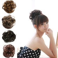 Wholesale Hair Bun Pieces Brown - Free Shipping Hair Wave Ponytail Holders Scrunchy Piece Bun Pony Tail Extensions Hairpiece Black Brown Flaxen