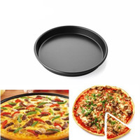 Wholesale Ceramic Wedding Cakes - Wholesale- 26*26cm Round Stainless Steel Pizza Pan for Baking Wedding Cake Pizza Pie Bread Loaf for Microwave Oven Baking Dishes Pan CF0028