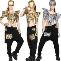 Wholesale kids hip hop pants - Adult Kids Women sweatpants costume wear big crotch bronze pencil pants Gold Silver trousers Hip hop harem dance Pants