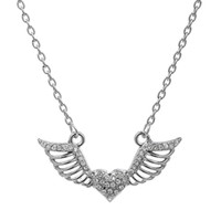 Wholesale Flying Heart Necklace - New Arrival Pink&Clear Heart Crystal With Flying Angel Wing Pendant Necklaces Enamel Link Chain Silver Plated Women Jewelry