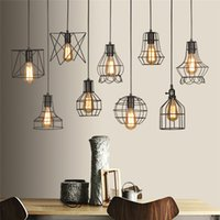 Wholesale E27 Lamp Holder Switch - Retro Lamp Shades Industry Metal Pendant Lamps Holder Vintage Style Iron Hanging Light Shade Edison Bulb Covers Drop light Shipping