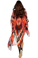 Wholesale Robes Plage - Mtmaiten 2017 Pareo Red Tribal Print Open Front Kaftan Beach Cover Up Women Robe De Plage Beach Bathing Suit Cover Ups