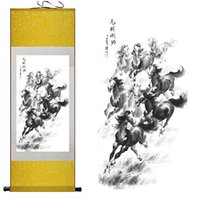 Wholesale Scroll Wall Hangings - Traditional Chinese Horse art painting Silk scroll art painting Horse Running Wall Art Scroll Hang Picture