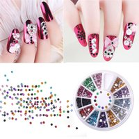 Wholesale 3d Decor For Nails - Wholesale- HNM 3D Nail Art Decorations Mixed Nail Art Tips Decor Glitters Rhinestones for Nails Crystal Gems DIY Manicure Wheel