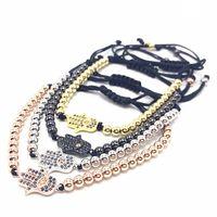 Wholesale Evil Eye Hamsa Beaded Bracelet - Steel Bead Braiding Hamsa Fatima Hand Evil charm Eyes Bead Bracelet Micro Pave CZ Bracelets Men's Couple Bracelet