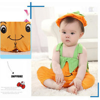 Wholesale Pumpkin Costume Baby - Halloween Baby Romper Pumpkin Persimmon Modeling Cute Baby Costume Sleeveless Newborn Boy Girl Jumpsuit Baby Clothes 2108054