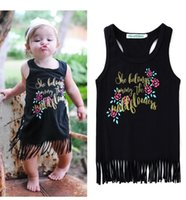 Wholesale Tank Dress For Girls Wholesale - Ins dresses for Baby girl Tank dress Tassels Prints Letters 100% Cotton 2017 Summer New arrival 1-5years Black White