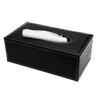 Wholesale Tissue Boxes For Cars - Wholesale- 3 Colors Stylish Elegant Royal PU Leather Crocodile Pattern Household Tissue Box Holder for home office and car