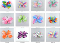 Wholesale Pageant Hair Bows - 10pcs 18cm jojo Pastel flora ombre ribbon hair bows Alligator clips Rainbow Striped Dance Cheerleader Pageant hair bobbles Accessory HD3476