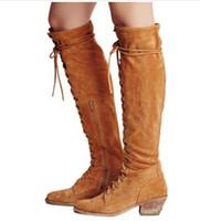 e776c7ccfcb9 Mode Frauen Oberschenkel Hohe Stiefel Retro Stil Lace Up Square Heels  Echtes Leder Cowboy Stiefel Zipper Armee Grün Western Schuhe Frau