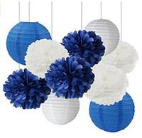 ingrosso lanterne di carta blu-12 pz misto blu navy blu tessuto pon pon appeso lanterna di carta da sposa baby shower vivaio decorazione fiore
