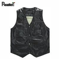 Wholesale Thermal Leather Vest - Wholesale- Male PU leather thickening wool liner vests Men winter windproof thermal warm vest suit Mens casual sleeveless jacket waistcoat