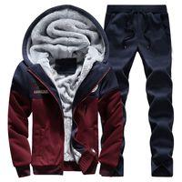 Wholesale Soft Velvet Suit - Wholesale-New 2016 2PCS Winter Thick Velvet Soft Warm Sweatshirt Men Set Patchwork Casual Hoodies Tracksuit Mens Sweat Suits 3XL 4XL