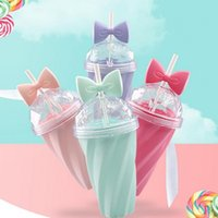 Wholesale Vogue Tie - Custom Candy Color New Vogue Portable Outdoor Travel Mugs Cup 400ml PS Plastic , Bow tie candy color thread pattern water bottles