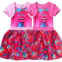 Wholesale Kids Watermelon Costume - 2017 Wholesale Trolls Girls Princess Dress Summer Splicing Kids Dresses Child Costumes Cartoon Clothes Kids Lovely Gift