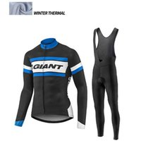 Wholesale Cycling Giant Winter - 2016 Giant Men Winter thermal Fleece cycling clothing long sleeve Pro cycling jersey  bib long pants winter cycling clothes hombre Riding