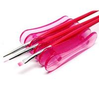 jel kalem kalıpları toptan satış-5 Izgaralar Çiviler Sanat Kalemlik Fırça Raf Aksesuar Oyma Desen UV Jel Kristal Kalem Taşıyıcı Depolama Salon Nail Art Araçları