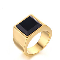 Wholesale Vintage Princess Rings - Meaeguet Jewelry Vintage RingGold Color Stainless Steel Princess Cut Man's Black Onyx Wedding Ring Gent's Gift RC-267
