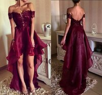 Wholesale Sexy Swetheart Lace - 2017 Dark Red High Low Prom Dresses Swetheart Off Shoulder Appliques Organza Backless Summer Beach Party Dresses Women Evening Gowns