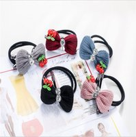 Wholesale Ear Rings Love - Creative new hair ring hair rope Knitting wool rabbit ear hair accessories Love rope fashion elastic rubber bands Free shipping