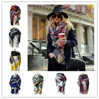 Wholesale Short Pashmina - DHL FREE Winter Scarf Women Blanket Plaid Scarf Female Shawls And Scarves Warm Women Short Tassel Tippet 28 colors