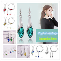 Wholesale 20pcs Austrian Crystal Earrings Water Drop Shape Stud Earrings For Women Cheap Earrings Jewelry For Wedding CB124