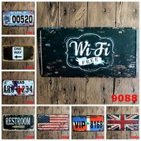 Wholesale Decoration British - Wifi Free Car License Plate Tin Poster British Flag 30X15 CM Metal Tin Sign Restroom Iron Antique Painting One Way 5 99rjd