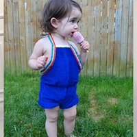 Wholesale Bowknot One Piece Romper - Cute New Infant Girls Shorts Baby Romoers Bowknot Belt One-piece Toddler Clothing Romper Backless Jumpsuits Blue Girl Party Onesie A6989