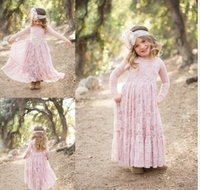 Wholesale Quality Communications - 2017 A-Line Lace Flower Girl Dresses Ankle Length Jewel Neckline Long Sleeves Toddler Pageant First Communication Dress High Quality
