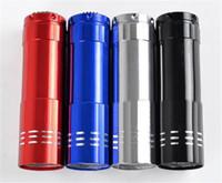 Wholesale Mini Lamp 12v 5w - Portable UV Lamps 9 LED Mini LED Flashlights Super Bright LED Torch Light Outdoor Camping Flashlights Black
