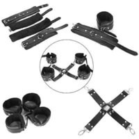 Wholesale Hog Tie Restraints - 5pcs Faux Leather Hog Tie Fleece-Lined Cuffs Kit Bed Restraint BDSM Sex Game Sex Products Free Shipping