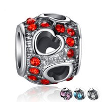 Wholesale Diy Drum Set - The new 2017 diy bracelet material accessories wholesale Tibetan silver hollow out heart drum set auger beads