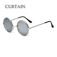 Wholesale Wholesale Branded Curtain - Wholesale-CURTAIN New Brand Designer Classic Round Sunglasses Men Vintage Retro John Lennon Glasses Women Driving Metal Eyewear -LD032
