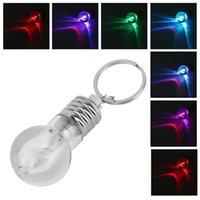 Wholesale Colour Changing Led Bulb - Colour Changing Led Light Mini Bulb Torch Keyring Keychain rgb mini led keychain bulb RGB LED KEY RING BULB