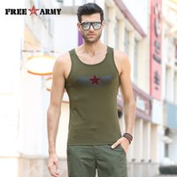 Wholesale Ms Tees - Wholesale- FreeArmy Brand Men's Vest Spandex Cotton Tank Tops Summer Male Sleeveless O-Neck Vest Casual Army Green Tops & Tees MS-6316A