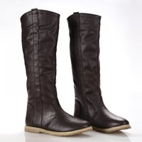 Wholesale Korean Women Boots Shoes - Wholesale-New flat Knee High Boots Casual Shoes for Women South Korean Spring Boots women's fashion knee high boots shoes large size 34-43