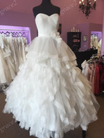 Wholesale Justin Wedding Dresses - Justin Design Wedding Dresses 2017 with Ruffles Skirt and Chapel Train Real Pictures Ball Gown Romantic vestido de noiva with Hand Flowers