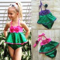 Wholesale Swimwear Russia - GLANE Brief 2017 Hot Newest Cute Toddler Kids Girls Mermaid Swimsuit Swimwear Bikini Bathing Suit Beachwear 1to6Y Summer Russia