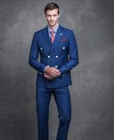 Wholesale Elegant Men Tuxedo - Elegant Royal Blue Men Suits 2017 Handmade Peak Lapel Double Breasted Groomsmen Wedding Suits Business Men Suit(Jacket+Pant