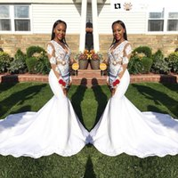 Wholesale Stretch Sequin Evening Dress - Stunning White Appliques Long Sleeves Prom Dresses 2K17 Black Girl Sexy V Neck Sheer Stretch Satin Long Party Gowns Evening Dresses