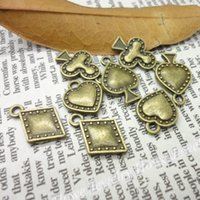 Wholesale diy jewelry cards online - Mix Vintage Charms playing card Pendant Antique bronze Fit Bracelets Necklace DIY Metal Jewelry Making