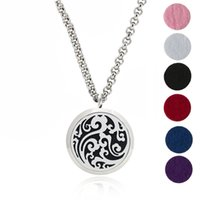 "Wholesale Hypoallergenic Pendant Necklace - Essential Oil Diffuser Necklace Aromatherapy Jewelry-30mm Hypoallergenic 316L Stainless Steel With 24""Chain And 6 Washable Pads YB-4"