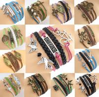 Wholesale Leather Cord Wraps - Mixed Styles Infinity Charm Bracelets Antique Cross Bracelets Wax Cord Wrap Braided Leather Bracelets Multilayer Heart Tree of Life Jewelry