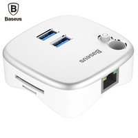 Wholesale Notebook Pc Apple - Baseus Multifunctional PC Expansion Dock For Notebook 2 Port USB 3.0 Charger TF SD Reader USB Extension Extender To Network LAN