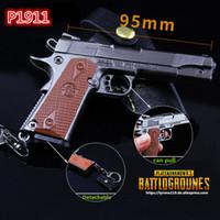 Wholesale Costume Gun - FPS Game Playerunknowns Battlegrounds 3D Keychain PUBG P1911 zinc alloy Keyring Jewelry Pendant child Gift Toy gun ornaments