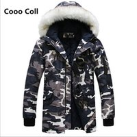 Wholesale Camo Parka Jacket - Wholesale- Winter Camo jacket men Fashion Parkas Warm duck down jacket men helly hansen men Fashion hooded coat thick padded Cooo Coll