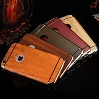 Wholesale Three Mobile Cell Phones - For iphone 7 7plus iphone 6 6plus cell phone cases three stage electroplated PC case wood grainy mobile phone shell