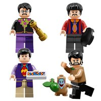 Wholesale Beatles Plastic - 4pcs set PG8030 The Beatles John Lennon George Harrison Collectible Building Blocks Children Christmas Gift Toys